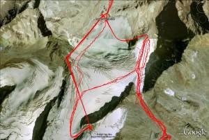 Google Earth Ansicht Rettenbachgletscher (mit Weltcup Abfahrt)